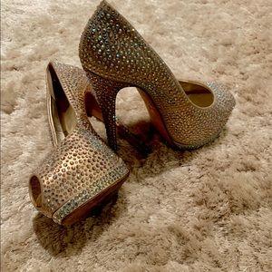 Giuseppe Zanotti crystal peep toe heels